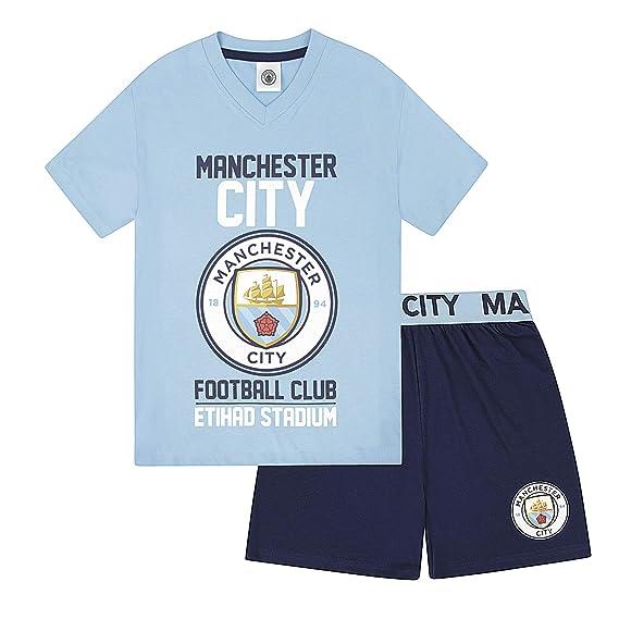 Manchester City Fc Jungen Schlafanzug Shorty Offizielles Merchandise Geschenk Fur Fussballfans
