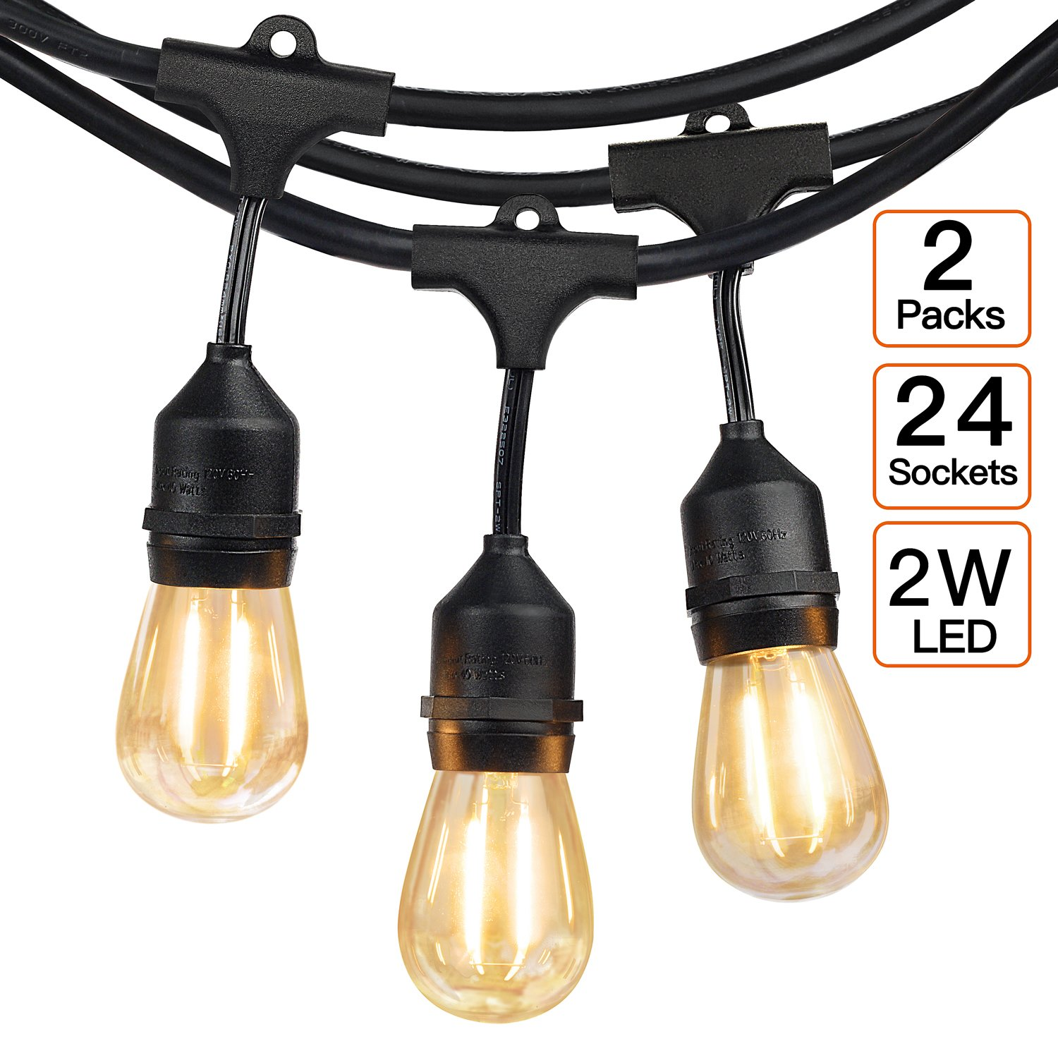2-Pack 48Ft 24 Hanging Socket LED Outdoor String lights-2W S14 Edison Vintage Bulbs, Commercial Grade, Weatherproof, Perfect for Market Cafe Umbrella Bistro Patio Garden Backyard Party Deck-Black