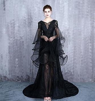 ELEGENCE-Z Elegante Vestido De Novia, Gasa De Cristal Negro Grandes Mangas Código V