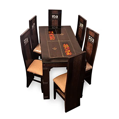 Pharneechars Affordable Classic 6 Seater Dining Table Set Glass Dinner Table Glass Table Dining Chairs Amazon In Home Kitchen