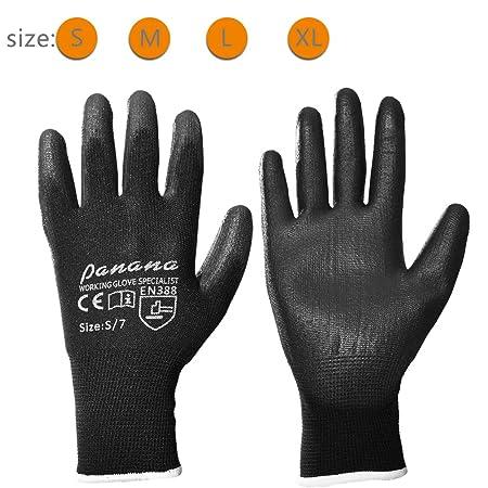 12 Pairs Black Grey Nylon PU Safety Work Working Gloves Builders Grip Gardening