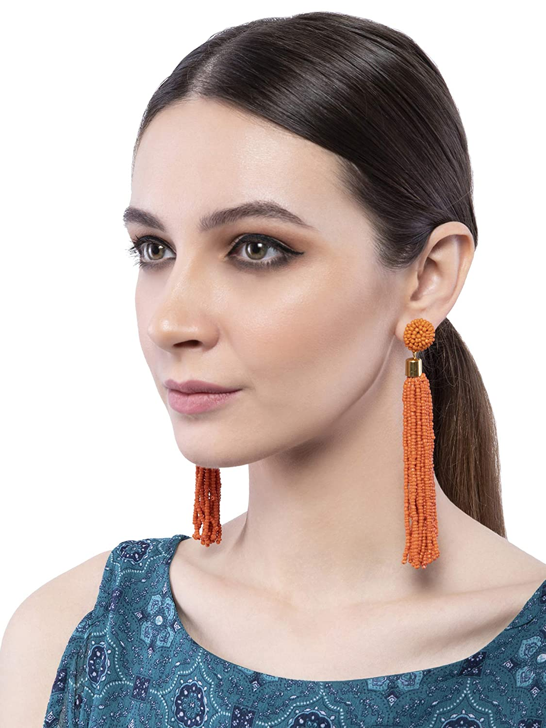 Crunchy Fashion Bollywood Style Party Wear Bohemian Orange Beaded Tassel Earrings for Women /& Girls