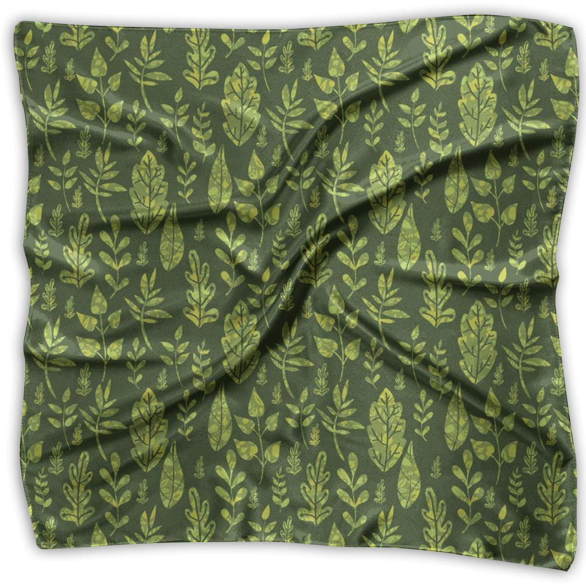 Bandana Head and Neck Tie Neckerchief,Patterned Green Leaves Nature Inspired Composition Fresh Trees Woodland,Headband