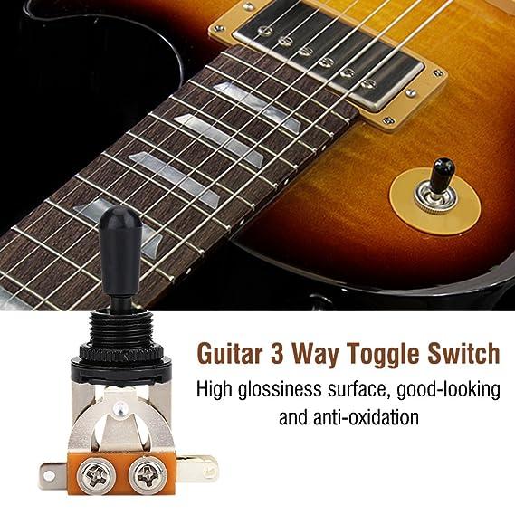1 interruptor de 3 vías para guitarra, selector de pastilla de guitarra de metal, con punta negra, pieza de repuesto para guitarra eléctrica estilo LP, ...