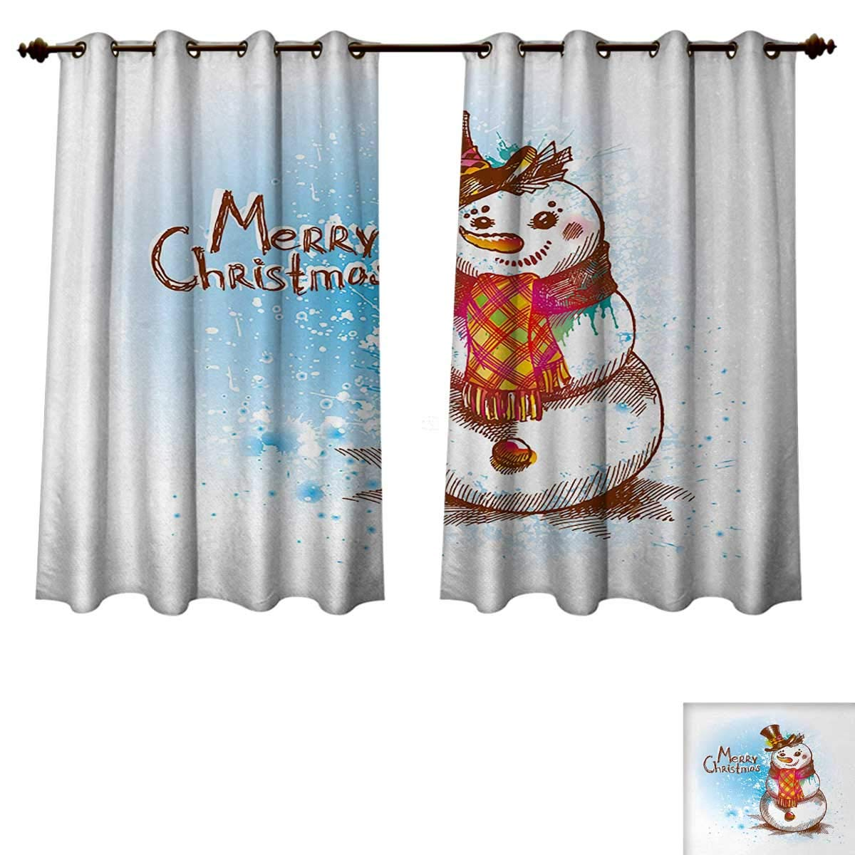 Anzhouqux Snowman Bedroom Thermal Blackout Curtains Sketch Style Artwork Traditional Figure with Merry Christmas Wish Hat and Scarf Window Curtain Drape Multicolor W55 x L39 inch