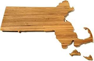 """product image for AHeirloom: The Original Massachusetts State Shaped Serving & Cutting Board. (As Seen in O Magazine, Good Morning America, Real Simple, Brides, Knot.) Made in the USA from Organic Bamboo, Large 15"""""""