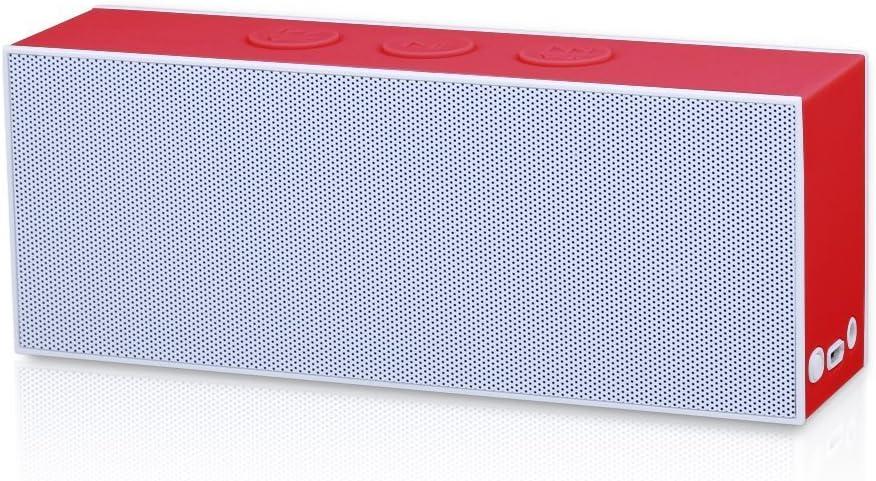 August SE30WR - Altavoz portátil (Bluetooth, estéreo, 3.5 mm), blanco y rojo (importado)
