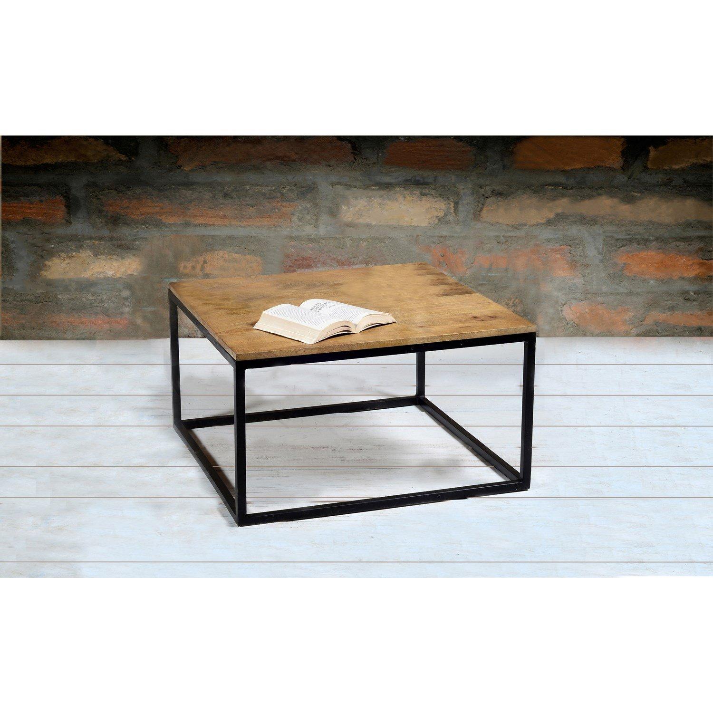 84c439606c367 Suri Modern Industrial Modern Square Coffee Table in Mango Wood   Metal  Detail  Amazon.co.uk  Kitchen   Home