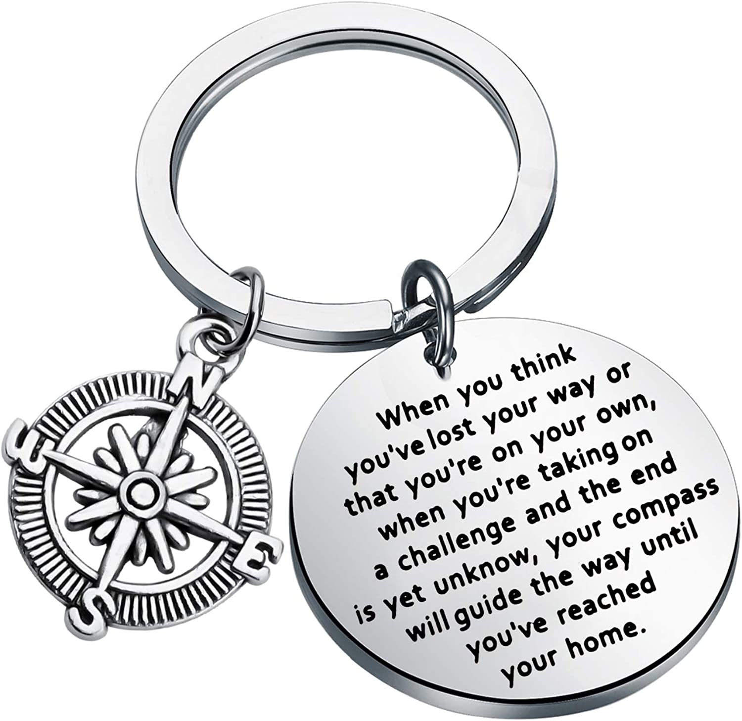 WSNANG Compass Keychain Your Compass Will Guide The Way Until You've Reached Your Home Keychain Inspirational Gifts Adventure Gift Graduation Gift for Grads
