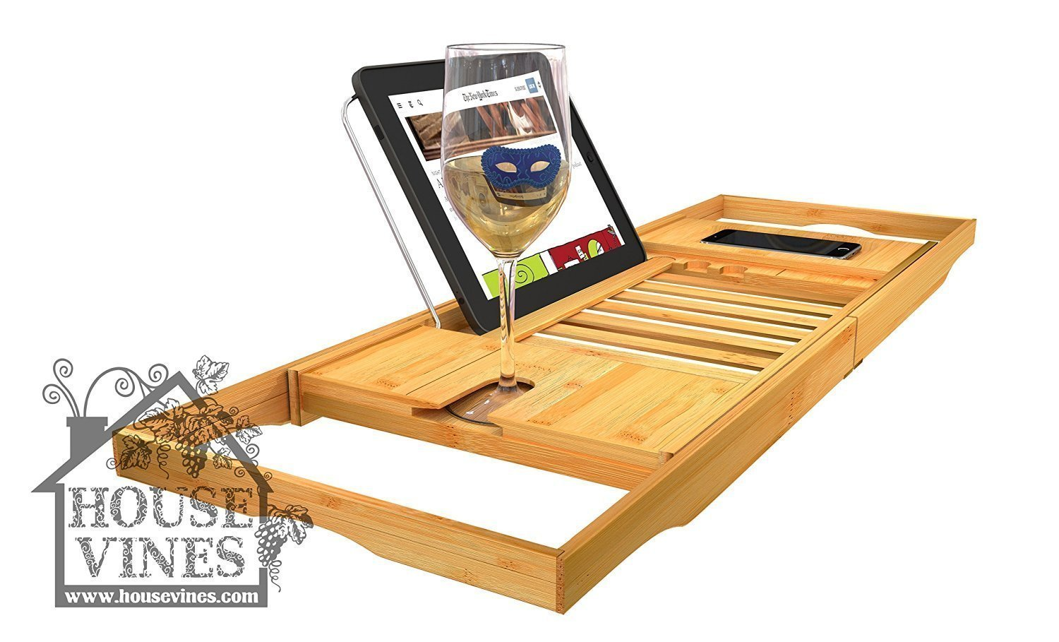 Amazon.com: Luxury Bathtub Caddy Tray with Extending Sides ~ Bamboo ...