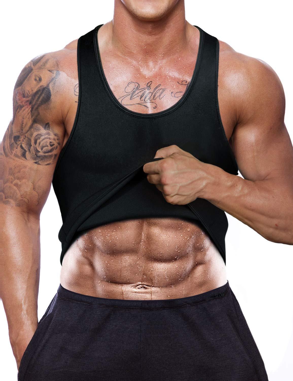 NBVIC Men Neoprene Sweat Sauna Suit Waist Trainer Corset Vest for Weight Loss Workout Tank Top Tummy Control Slimming Vest