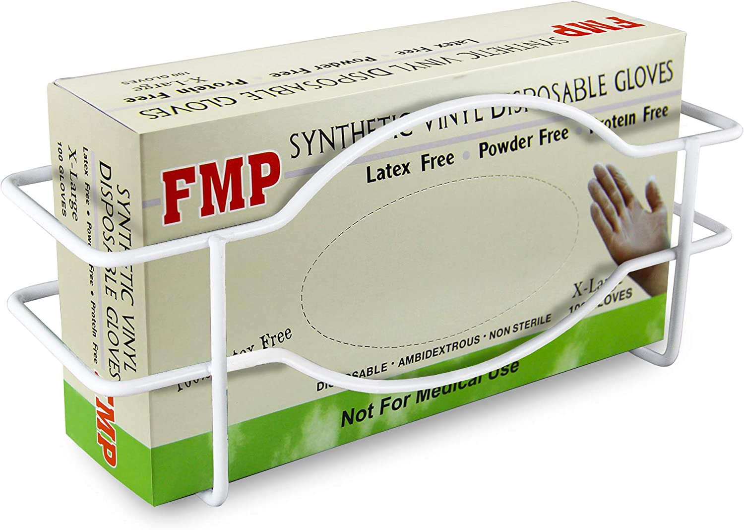 FMP Brands Single Wall Mount Glove Tissue Dispenser, Wire Rack Disposable Gloves Napkin Box Holder, White Durable Metal Organizer for Food Service, Lab, Medical Office, Home, Garage