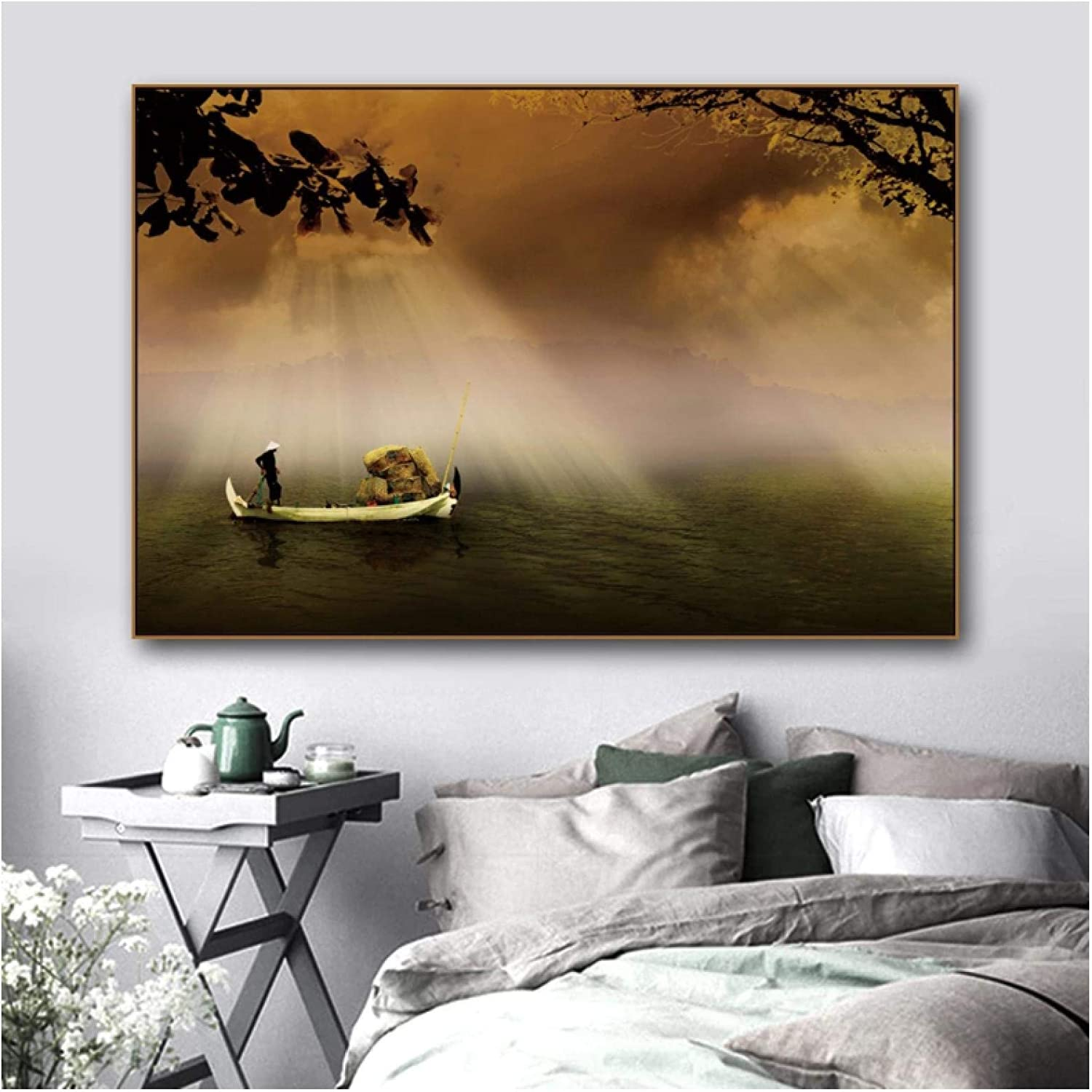 Wall Art ZXYFBH Canvas Art Oil Painting«Lake Boat in Twilight»Artwork Picture Art Poster Wall Decor Modern Home Living Room Decoration 15.7x19.7in(40x50cm) x1pcs No Frame