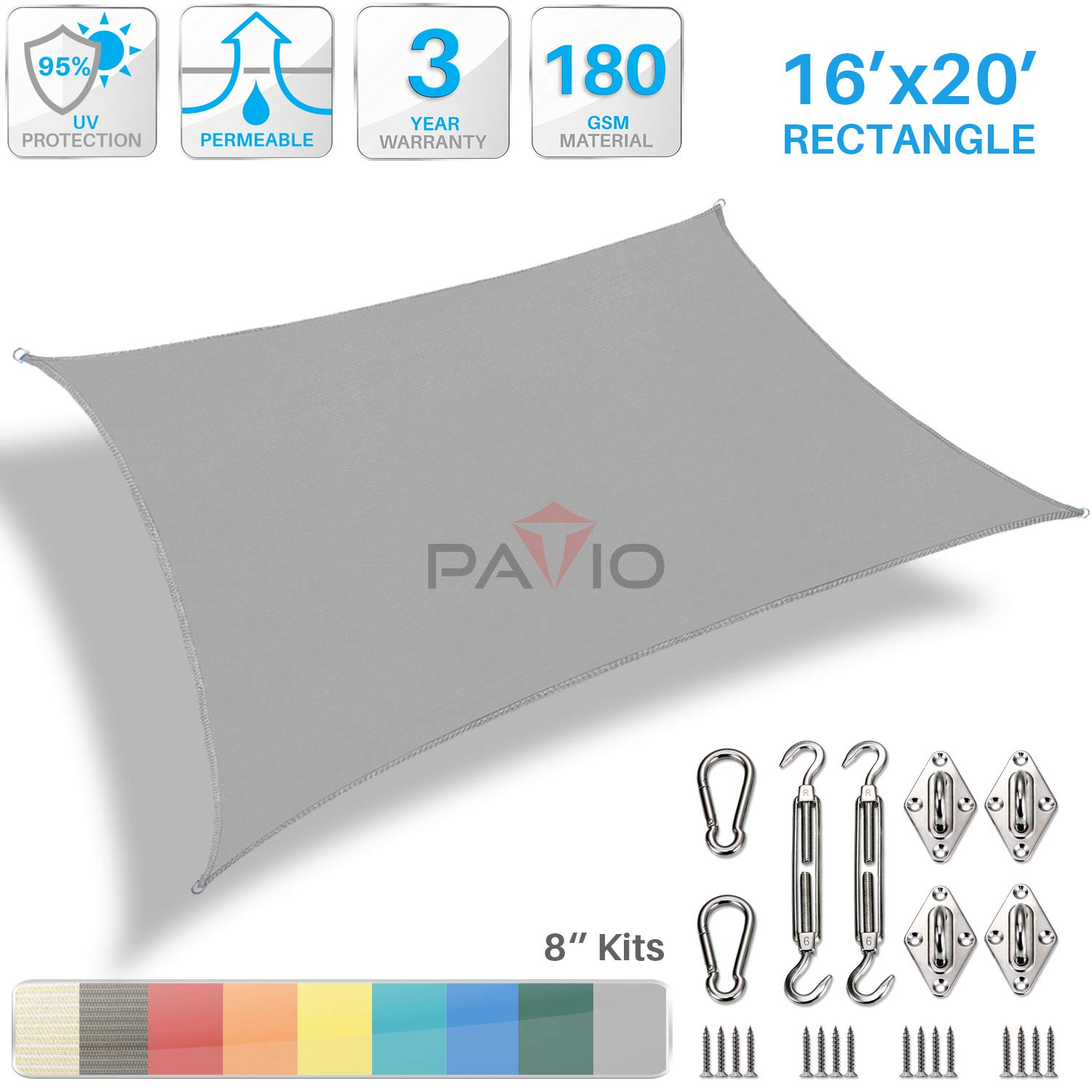 Patio Paradise 16' x 20' Sun Shade Sail with 8 inch Hardware Kit, Light Grey Rectangle Canopy Durable Shade Fabric Outdoor UV Shelter Cover - 3 Year Warranty - Custom