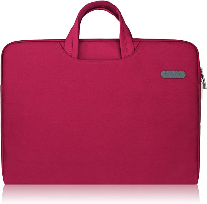 ARVOK 16 17 17.3 Inch Water-Resistant Canvas Fabric Laptop Sleeve with Handle&Zipper Pocket/Notebook Computer Case/Ultrabook Briefcase Carrying Bag/Pouch Cover for Acer/Asus/Dell/Lenovo/HP,Wine Red