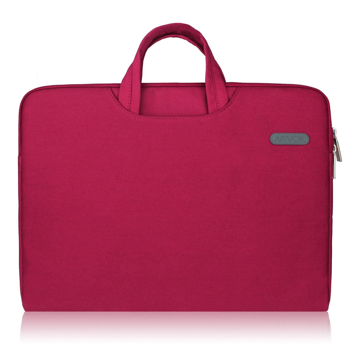Arvok 15 15.6 16 Inch Water-Resistant Canvas Fabric Laptop Sleeve with Handle&Zipper Pocket/Notebook Computer Case/Ultrabook Briefcase Carrying Bag/Pouch Cover for Acer/Asus/Dell/Lenovo/HP,Wine Red