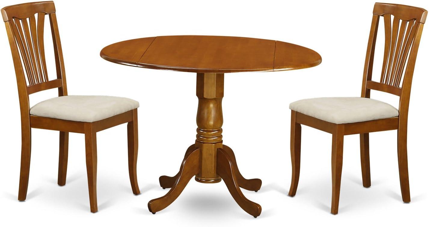 East West Furniture DLAV3-SBR-C 3-Piece Kitchen Nook Dining Table Set, Saddle Brown Finish