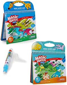 Twdrer 2PACKS MAGIC WATER Pads, Reusable Water-Reveal Activity Pads-Named Animal World And Dinosaur World Learning Toy Educational.(With Water Pen)