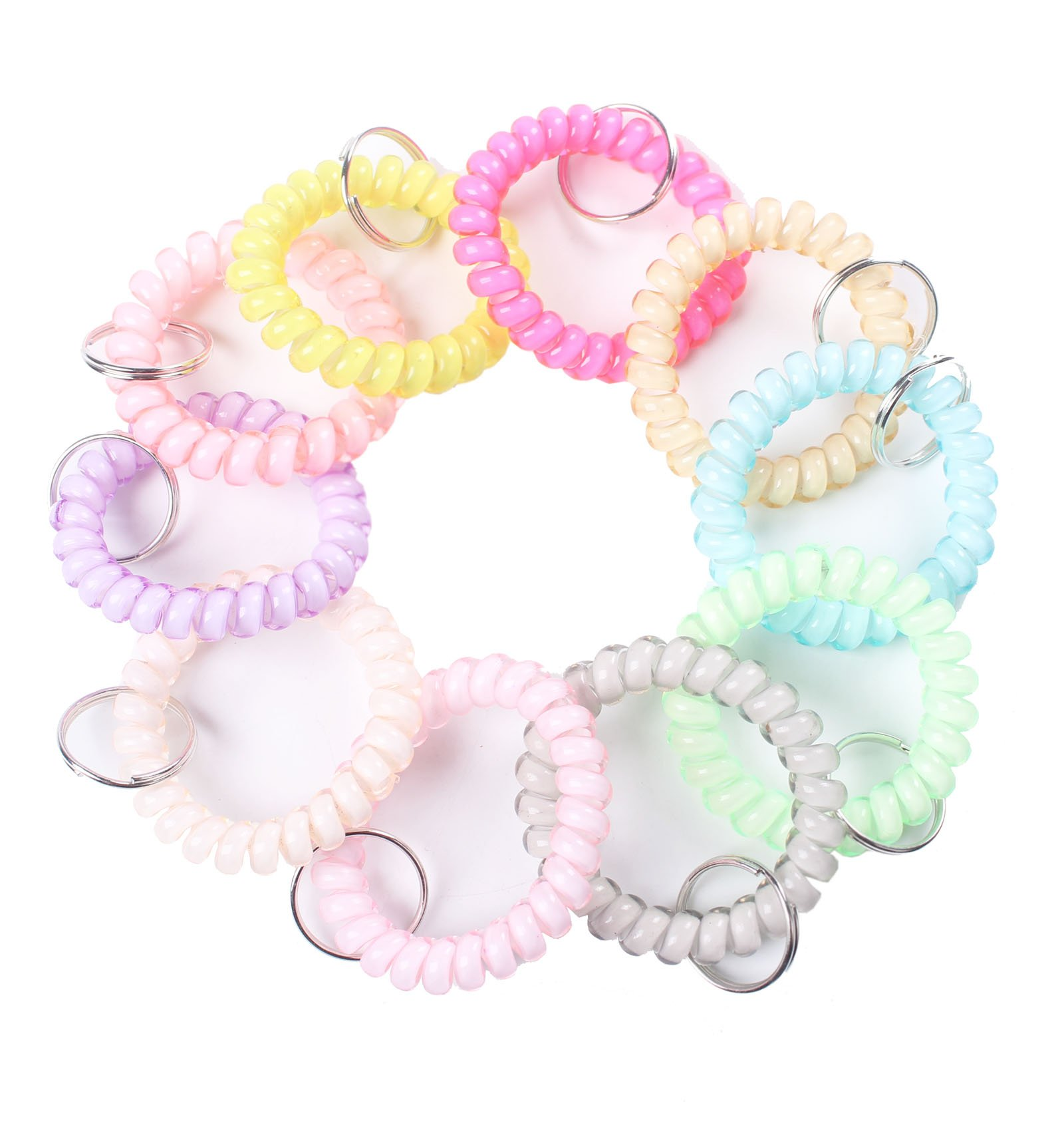 BIHRTC Pack of 30 Colorful Flexible Spiral Coil Stretchable Spring Wristband with Key Ring for Office, Workshop, Shopping Mall, Sauna and Outdoor Activities Place (Colorful-4)