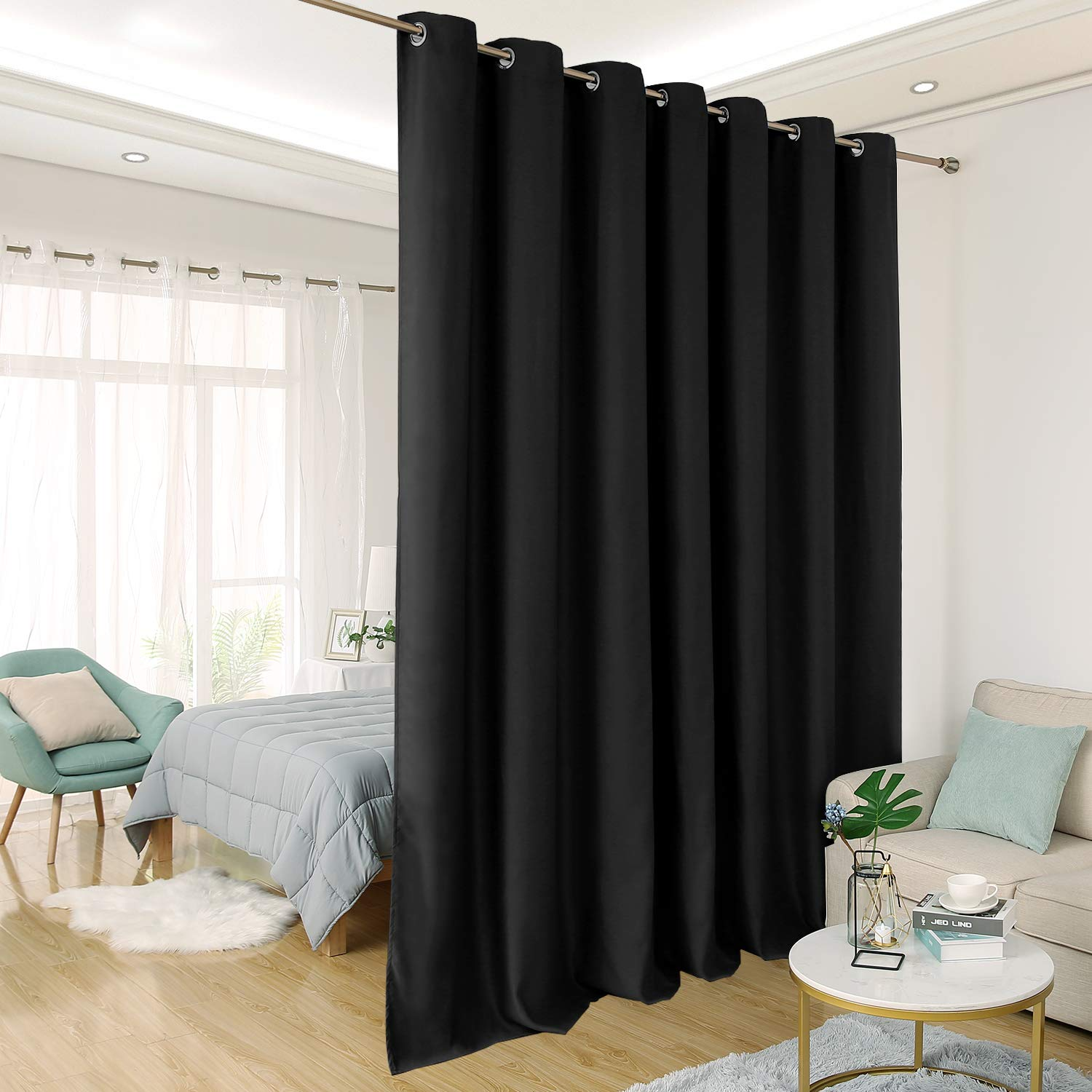 Deconovo Wide Blackout Curtain for Sliding Glass Door Room Divider Curtain Thermal Insulated Blackout Patio Door Curtain Panel, 8.3ft Wide x 7ft Tall, 1 Panel, Black by Deconovo (Image #1)