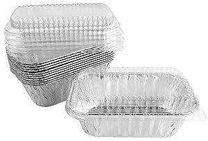 Handi-Foil 1 lb. Aluminum Mini-Loaf/Bread Baking Pan w/Clear Low Dome Lid 100/Pk (pack of 100)