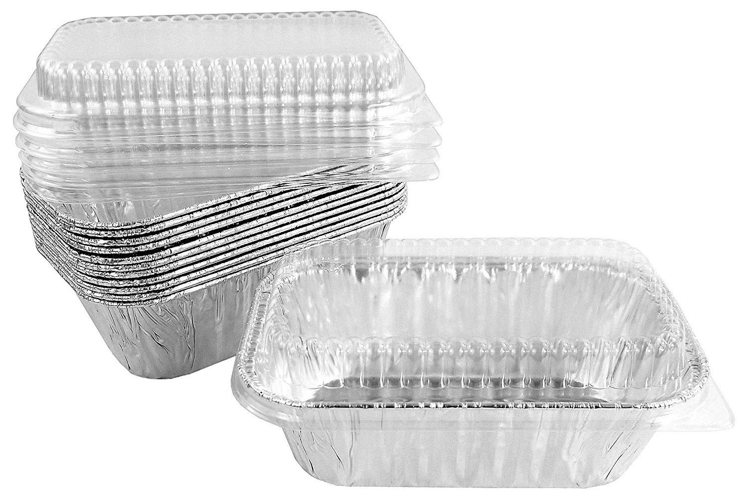 Pactogo Disposable 1 lb. Aluminum Foil Mini Loaf Pans with Clear Low Dome Lids (Pack of 400 Sets) by PACTOGO (Image #1)