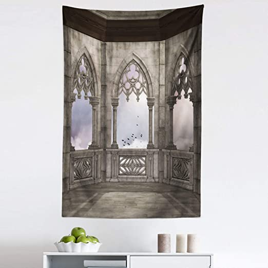 Amazon Com Lunarable Gothic Tapestry Medieval Stone Balcony Graphic Design Mystic Middle Age Story Fabric Wall Hanging Decor For Bedroom Living Room Dorm 30 X 45 Lilac And Pale Sage Green Home