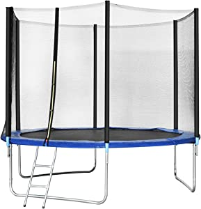Gymax Trampoline, Spacious Round Trampoline Combo Bounce Jump with Safety Enclosure Net Jumping Met and Spring Pad Ladder, Best Gift for Kids Children