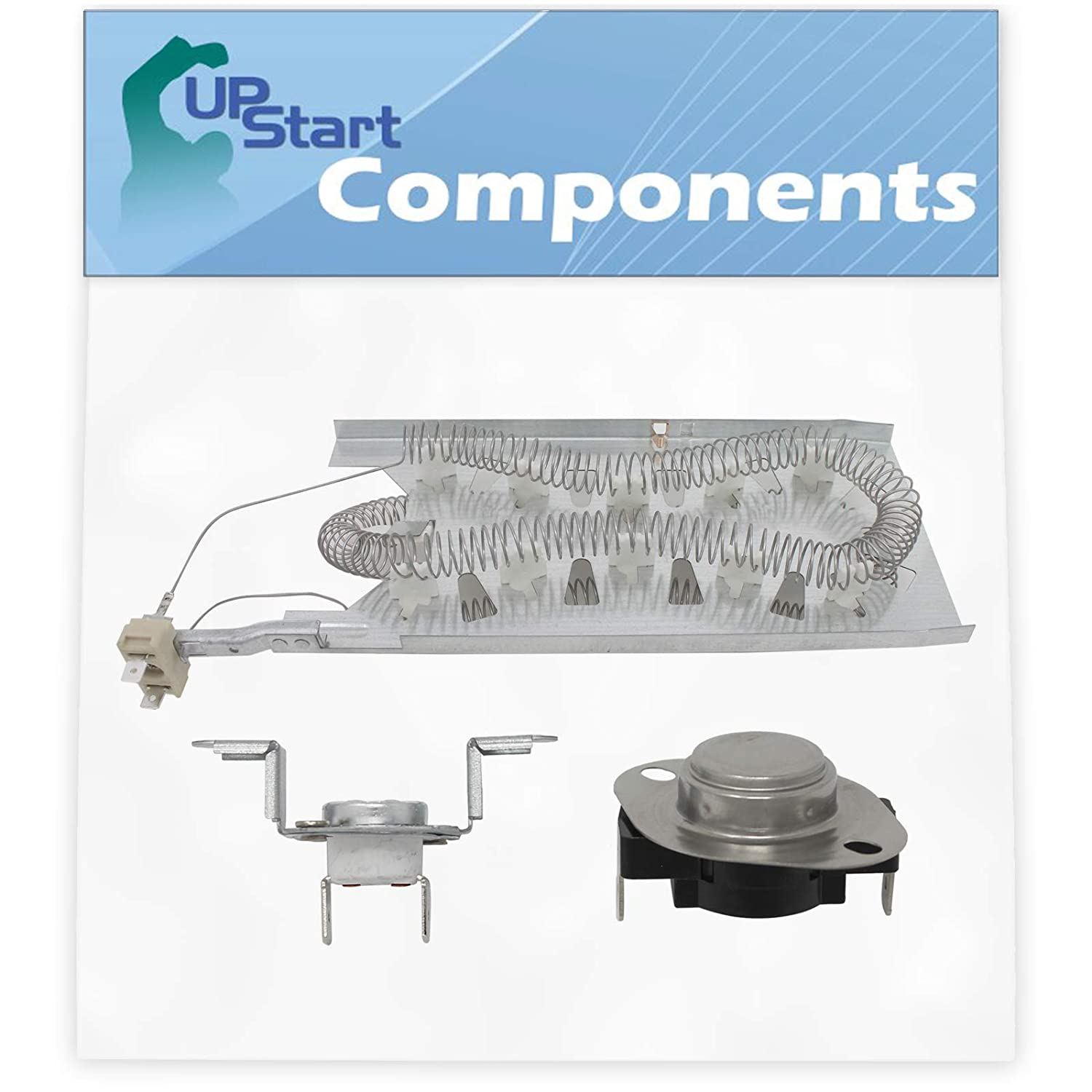 3387747 Dryer Heating Element & 279973 Thermal Cut-Off Fuse Kit Replacement for Whirlpool GEW9250PW1 Dryer - Compatible with WP3387747 & 8318314 Heater Element & Thermal Fuse Kit