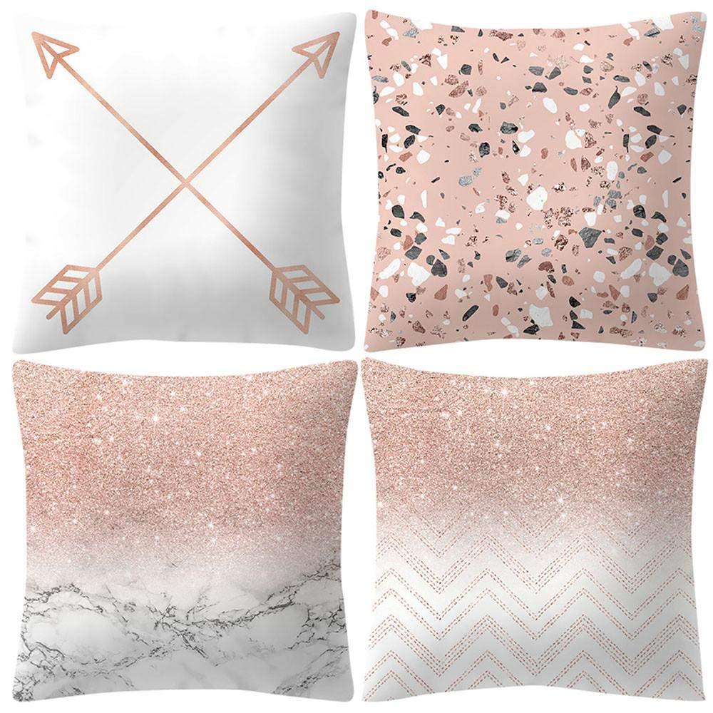 VJGOAL Moda impresión decoración del hogar Rosa Suave Funda de cojín Cuadrado cómodo Funda de Almohada 4 Piezas Conjunto(45_x_45_cm,Rosado7)