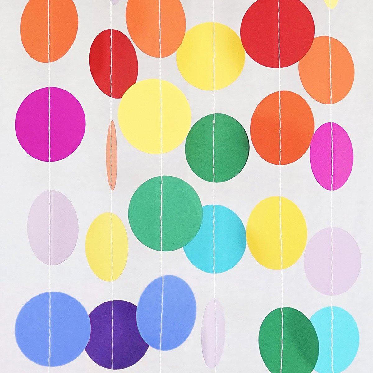 Ranpower 5 Pack 67ft Paper Circle Dots Garland Colorful Hanging Banner Paper for Birthday Party Streamers Wedding Decor Each Pack