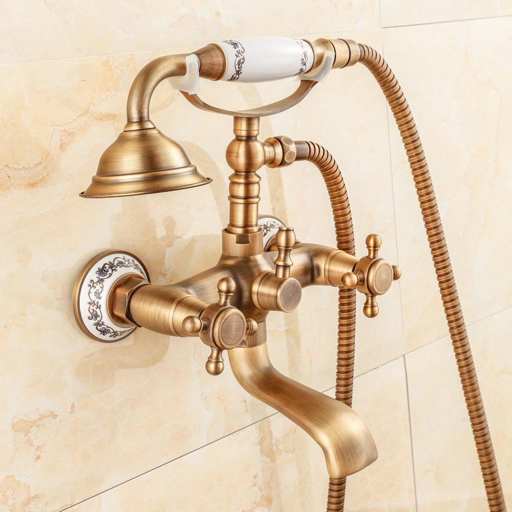 SAEKJJ-European Antique Copper Bathtub Shower Faucet Hot And Cold A ...