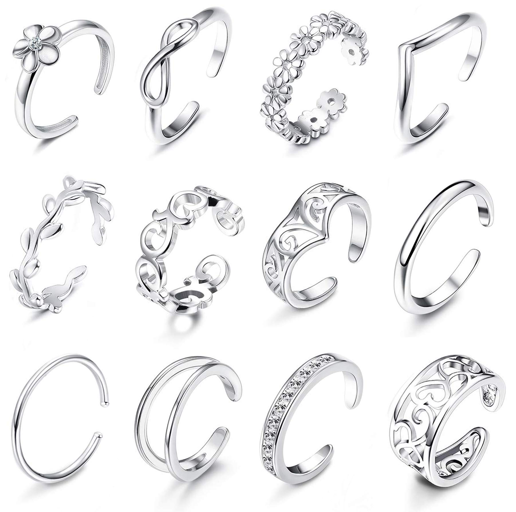 Subiceto 12 Pcs Adjustable Toe Rings for Women Girls Retro Various Types Flower Band Open Toe Ring Set Women Gift Jewelry Silver-Tone by Subiceto