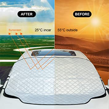 Bodhi2000 Car Windscreen Cover Car Windscreen Frost Cover Magnetic Snow Cover Windshield Ice Cover Car Front Window Sunshades Protector Winter Cover