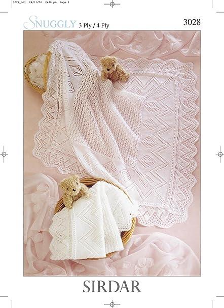 Sirdar Snuggly 4ply 3ply Baby Shawl Blanket Knitting Pattern 3028