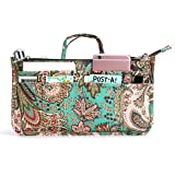 BTSKY New Printing Handbag Organizers Inside Purse Insert-High Capacity 13 Pockets Bag Tote Organizer with Handle Peacock Flo