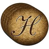 Letter H on Cork Design MDF Wood Coaster Set of 4