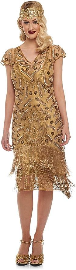 Find Downton Abbey Style Dresses in the UK gatsbylady london Vegas Vintage Inspired Fringe Dress in Gold £139.00 AT vintagedancer.com