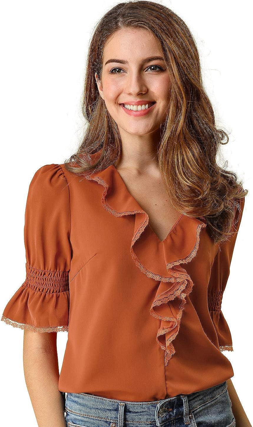 Allegra K Women's Ruffle V Neck Half Bell Sleeve Blouse Summer Vintage Casual Chiffon Peasant Top