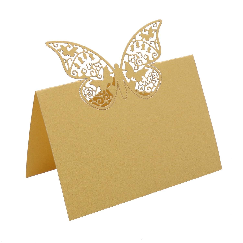 BITFLY - 100 segnaposti da tavolo, con supporto a forma di farfalla, per scrivere nomi degli invitati e numero del tavolo, decorazione per matrimoni, compleanni, feste e altre occasioni Beige