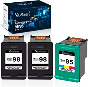 Valuetoner Remanufactured Ink Cartridge Replacement for HP 98 C9364WN & 95 C8766WN for Officejet 150 100 6310, PhotoSmart 8050 C4180 C4150, Deskjet 460 5940 Printer (2 Black, 1 Tri-Color, 3 Pack)