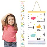 "PASHOP Baby Growth Chart Wall Hanging Ruler for Kids Unicorn Dinosaur Canvas Removable Measurement Growth Height Chart 79""7.9"