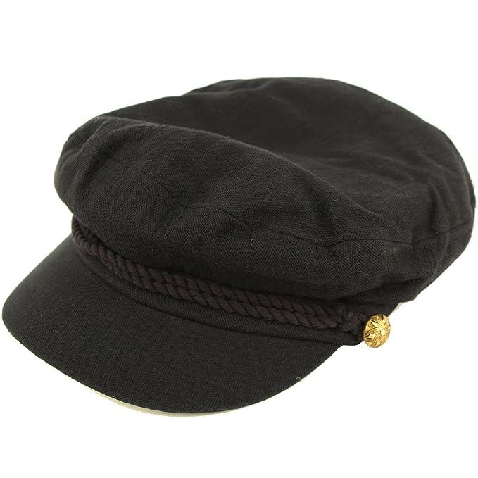 Epoch Men s Summer Cotton Greek Fisherman Sailor Fiddler Driver Hat Flat  Cap Black f7c9158ecf6