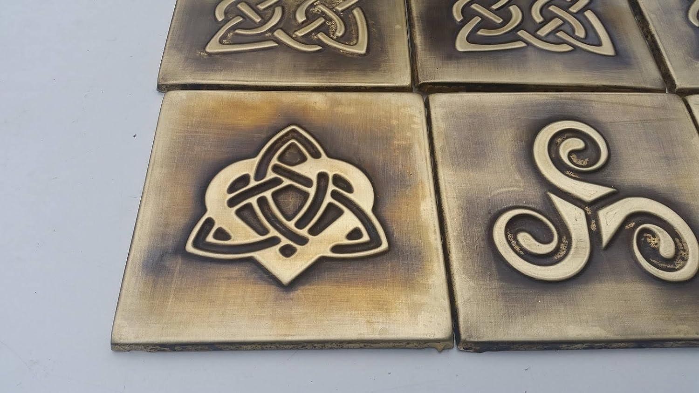 SET OF 9 Celtic design tiles Brass Copper Nickel one tile size 5.9X5.9 backsplash metal tiles