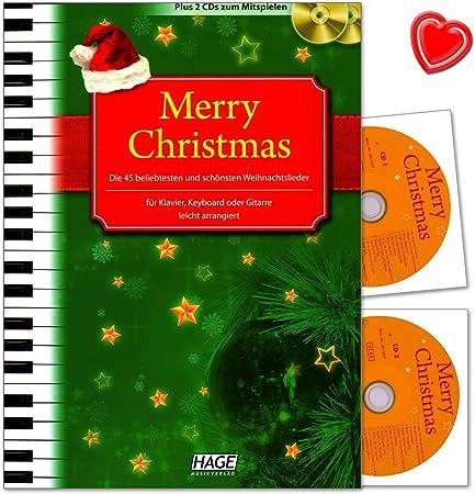 CD navideño con las 45 canciones de Navidad más populares en Alemania, ligeramente arregladas para piano, teclado o guitarra, libro de partituras en ...