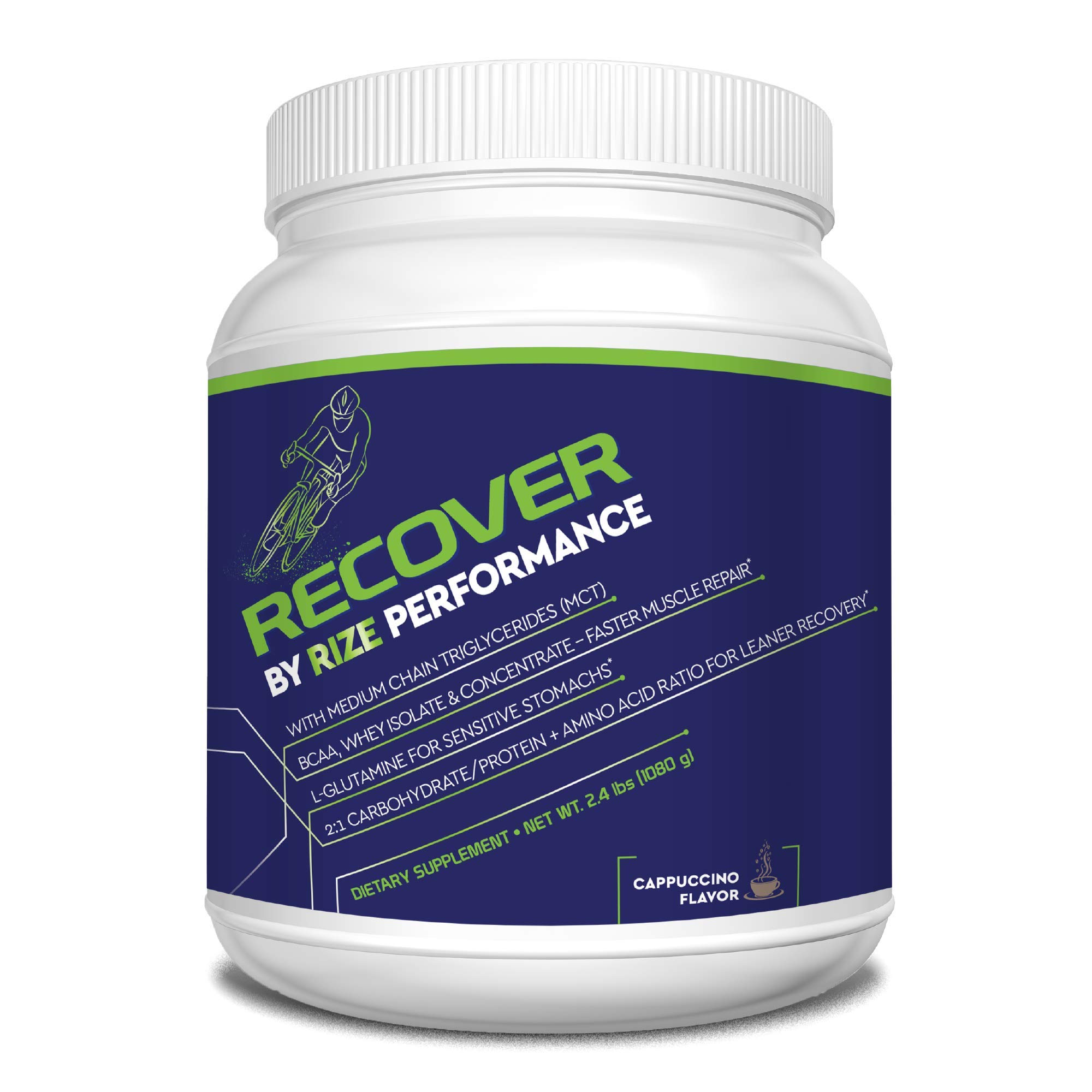 Cycling Fuel Recovery Powder - by Rize - All Natural Post Workout Muscle Recovery Supplement - Cappuccino 2.4 lbs