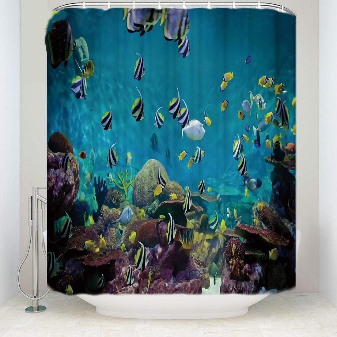 SMNHSRXH Hermosas Cortinas de Ducha de poliéster de Pescado del Mundo Submarino Cortinas de Colores Lavables for decoración de hogar de Ducha de baño Antimoho: Amazon.es: Deportes y aire libre