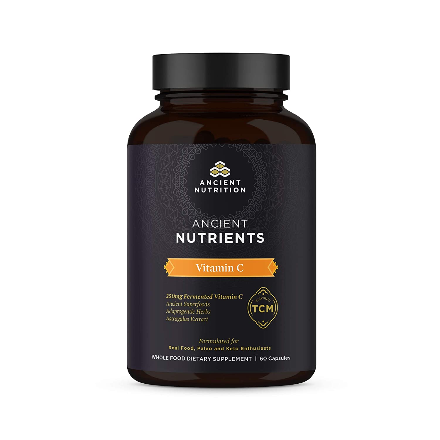 Ancient Nutrition, Ancient Nutrients Vitamin C - 250mg Fermented Vitamin C, Adaptogenic Herbs, Enzyme Activated, Paleo & Keto Friendly, 60 Capsules