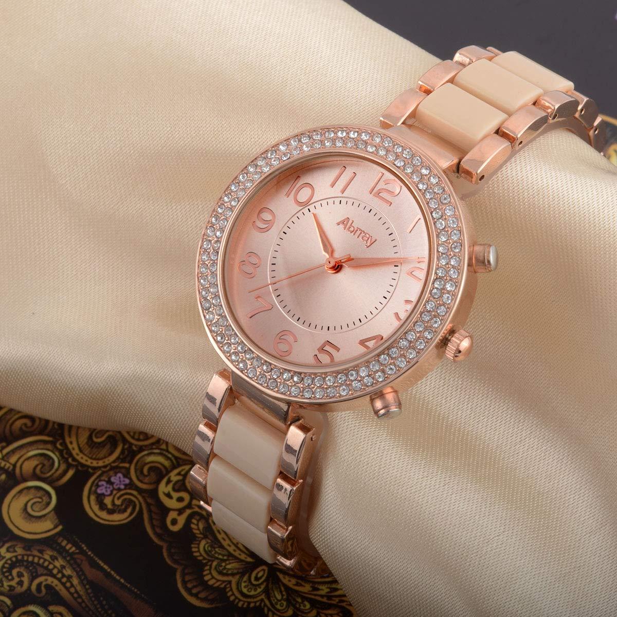 Abrray Analog Quartz Rhinestone Case Gold-Tone Bracelet Watch for Women with Arabic Numerals Display