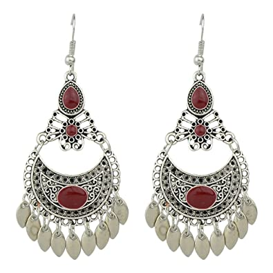 Amazon indian style silver plated enamel big chandelier amazon indian style silver plated enamel big chandelier earrings red jewelry aloadofball Images